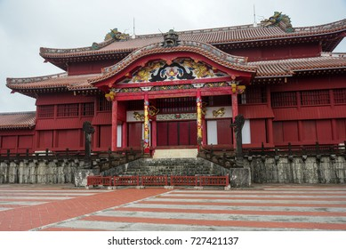 OKINAWA, JAPAN - SEPTEMBER 26 ,2016:  Shuri Castle was the palace of the Ryukyu Kingdom,designated as a World Heritage Site in December of 2000, the 11th World Heritage Site in Japan.