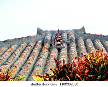 Okinawa lion on a house's roof,Okinawa,Japan.