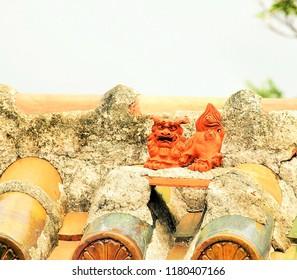 "Okinawa lion on a house's roof,""Shisa""in Okinawa,Japan."