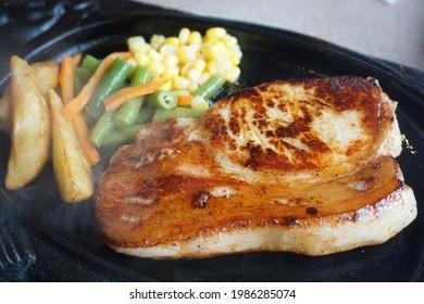 Okinawa local food: Okinawan Agu pork steak with vegetable