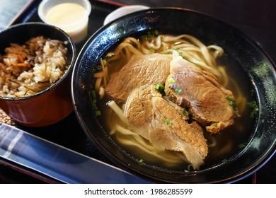 Okinawa local food: Okinawa soba noodles (also called Soki soba) with Agu pork slices
