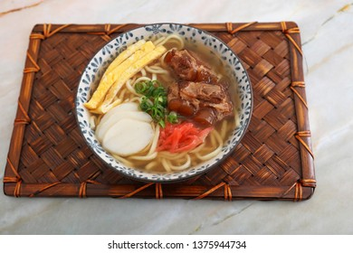 Okinawa Soba Noodles Served with Spareribs.