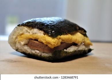 Okinawa soul food pork egg onigiri