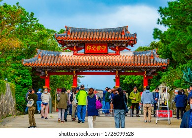 Okinawa,Japan -  February 17, 2020:The Shuri Castle, the former royal palace of the Ryukyu Kingdom, is one of the finest Okinawan castle and the most important historical sites in Okinawa.
