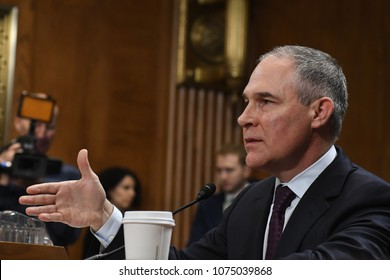 Oklahoma Atorney General Scott Pruitt testifies at his confirmation hearing at the Senate EPW committee in Washington DC., January 18, 2017