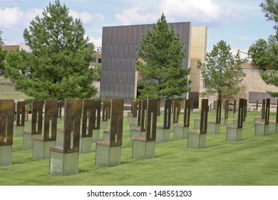 The Oklahoma Bombing Monument with empty chair sculptures that memorialize those lost to the terrorist bombing