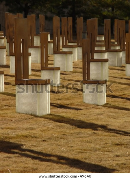 Oklahoma City Bombing Memorial. Vertical shot