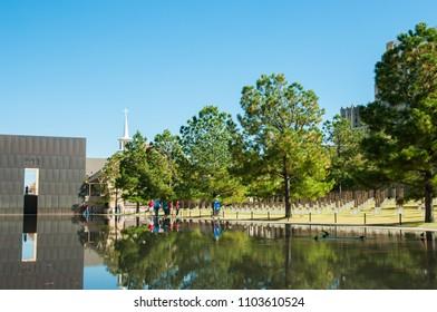 OKLAHOMA CITY, OKLAHOMA -  NOVEMBER 1 2008: People visit Oklahoma City National Memorial