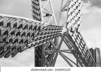 Oklahoma City, OK May 26, 2019 Skydance Bridge over highway 40 in Oklahoma shot in black and white.