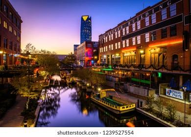 Oklahoma City, OK - November 14, 2018: The Bricktown Entertainment District of Oklahoma City, Oklahoma. (0926)
