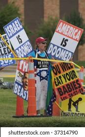 OKLAHOMA CITY, OK - SEPTEMBER 18: Members of the Westboro Baptist Church of Topeka, KS Demonstrate outside Temple B'nai Israel in Oklahoma City on Sep. 18, 2009 the eve of the Jewish holiday Rosh Hashanah