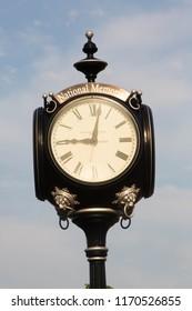 OKLAHOMA CITY, OK USA,  AUGUST 5 2018.  The Memorial clock at 9.02 at The Oklahoma City National Memorial..