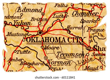 Oklahoma City, Oklahoma on an old torn map from 1949, isolated. Part of the old map series.