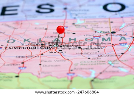 Oklahoma City Pinned On Map USA Stock Photo (Edit Now) 247606804 ...