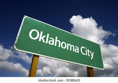 Oklahoma City Road Sign with dramatic blue sky and clouds - U.S. State Capitals Series.