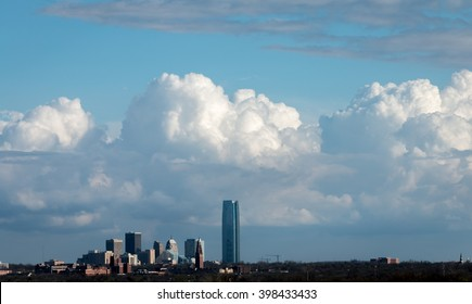 Oklahoma City, Oklahoma. Skyline with gathering storm clouds