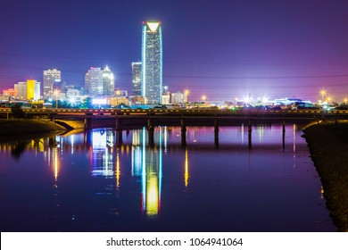 Oklahoma City skyline at night. This shows how beautiful the Oklahoma night sky can be, even with light pollution.