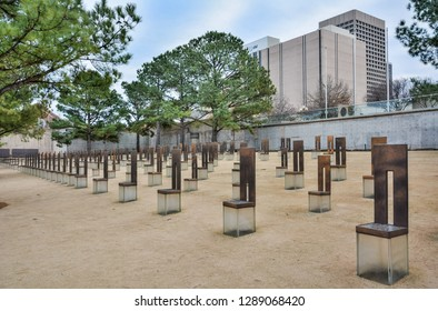 Oklahoma City, Oklahoma, United States of America - January 18, 2017. Oklahoma City National Memorial with empty chair sculptures for each of the people killed in Oklahoma City bombing in 1995.