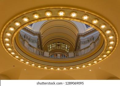 Oklahoma City, Oklahoma, United States of America - January 18, 2017. Architectural details of the interior of the State Capitol of Oklahoma in Oklahoma City, OK.