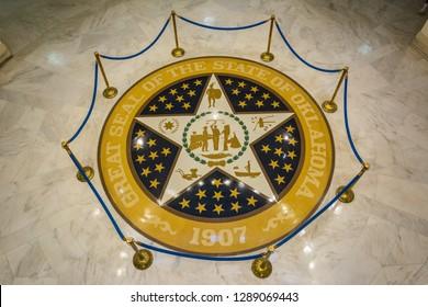 Oklahoma City, Oklahoma, United States of America - January 18, 2017. Great seal of the state of Oklahoma on the marble floor of the State Capitol of Oklahoma.