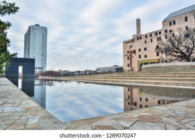 Oklahoma City, Oklahoma, United States of America - January 18, 2017. Exterior view of the Oklahoma City National Memorial Museum in Oklahoma City, OK, with Reflecting Pool.