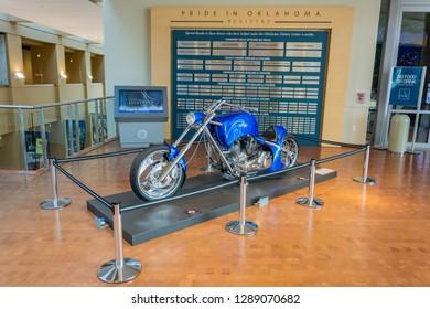 Oklahoma City, Oklahoma, United States of America - January 18, 2017. Compressed natural gas chopper on display at the Oklahoma History Center in Oklahoma City, OK.
