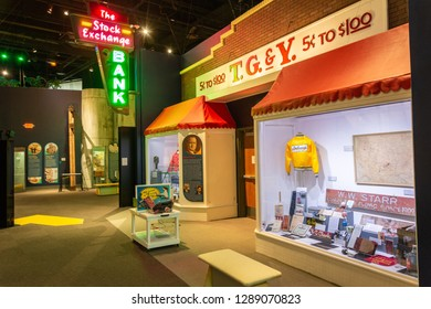 Oklahoma City, Oklahoma, United States of America - January 18, 2017. Interior view of the museum displays at the Oklahoma History Center in Oklahoma City, OK.