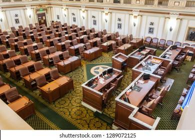 Oklahoma City, Oklahoma, United States of America - January 18, 2017. The House of Representatives chamber of State Capitol of Oklahoma in Oklahoma City, OK.