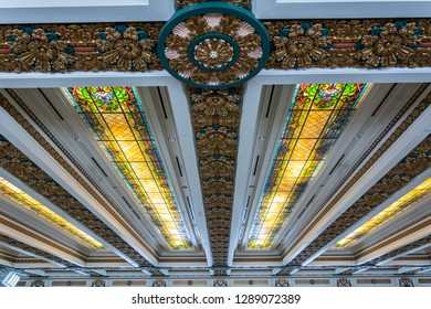 Oklahoma City, Oklahoma, United States of America - January 18, 2017. Ceiling of the House of Representatives chamber of State Capitol of Oklahoma in Oklahoma City, OK, with stained glass panels.