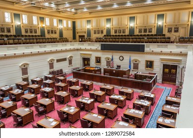 Oklahoma City, Oklahoma, United States of America - January 18, 2017. Senate chamber of the State Capitol of Oklahoma in Oklahoma City, OK.