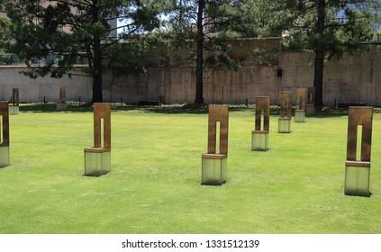 OKLAHOMA CITY, OKLAHOMA / USA – August 10, 2017: Oklahoma City National Memorial (Field of Empty Chairs)