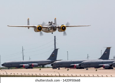 OKLAHOMA CITY, OKLAHOMA / USA - June 2, 2019: A World War II era B-25 Mitchell performs at the Star Spangled Salute Air & Space Show at Tinker Air Force Base.