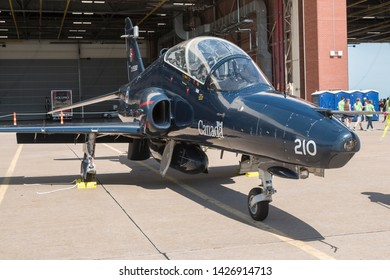 OKLAHOMA CITY, OKLAHOMA / USA - June 2, 2019: A Canadian Air Force BAE Systems CT-155 Hawk sits on static display at the 2019 Tinker Air Force Base Airshow.