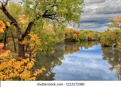 Oklahoma City's Lake Hefner surrounded by trees in fall color
