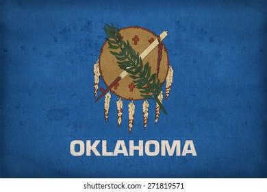 Oklahoma  flag on fabric texture,retro vintage style