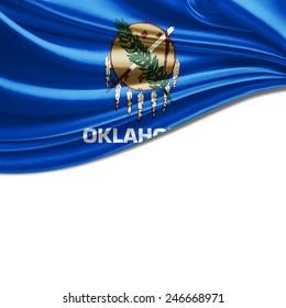 Oklahoma flag and white background