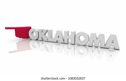 Oklahoma OK Red State Map Word 3d Illustration