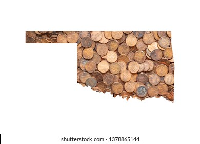 Oklahoma State Map and Money Concept, Piles of Coins, Pennies