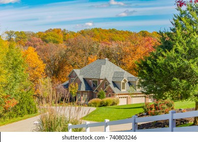 OKLAHOMA, UNITED STATES - OCTOBER 13, 2015 -  houses along Route 66 in the fall with colorful trees near Oklahoma City