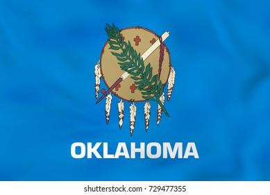 Oklahoma waving flag. Oklahoma state flag background texture. Raster copy.