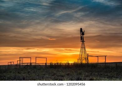 Oklahoma windmill at sunset