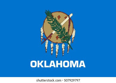 Oklahoman official flag, symbol. American patriotic element. USA banner. United States of America background. Flag of the US state of Oklahoma in correct size and colors, illustration