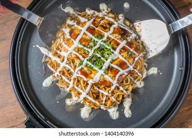 Okonomiyaki is a Japanese-style pancake