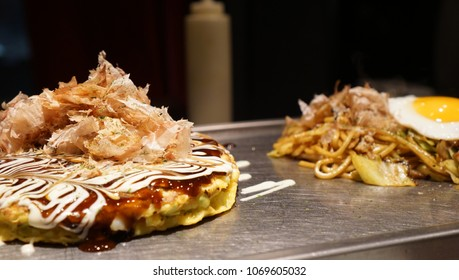 Okonomiyaki and Yakisoba, the famous Japanese food on the pan
