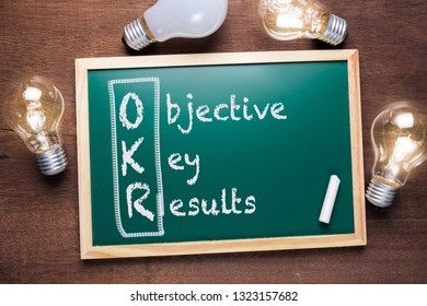 OKR or Objective Key Results acronym text on chalkboard with many glowing light bulbs