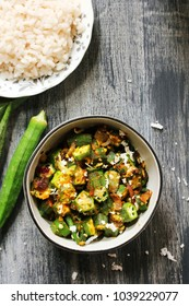 Okra or bhindi fry with fresh cocnut, selective focus