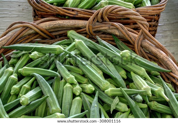 Okra on display for sale at farmer's market