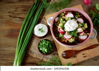 Okroshka with kvass topped with sour cream in a tureen. Traditional meal of the Russian cuisine