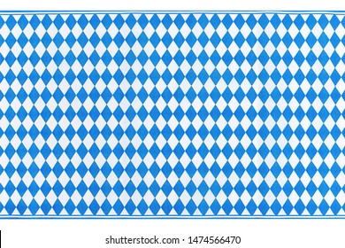Oktoberfest background frame with bavarian white blue fabric, isolated on white. October fest background, text place, copy space. Bavaria State flag fabric table cloth. Oktoberfest cloth paper runner