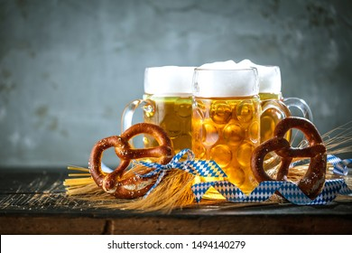 Oktoberfest beer with bavarian pretzels and obatzter Dip chesse cream